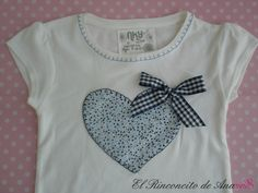 By Ana Eva: Camiseta niña Sewing For Kids, Baby Sewing, Sewing Clothes, Diy Clothes, Sewing Appliques, Diy Embroidery, Little Girl Dresses, Applique Designs, Kids Shirts