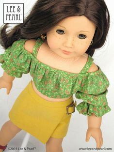 Make flattering summer tops and tropical dresses for 18 inch American Girl dolls, 16 inch A Girl for All Time dolls or 14 1/2 inch Wellie Wisher or similar play dolls using the NEW multi-sized Lee & Pearl Pattern 1035: Olá Brasil! Off-the-Shoulder Samba Top, Bahia Dress and Traditional Brazilian Baiana Headwrap. Find this unique and lovely pattern in the Lee & Pearl Etsy store!