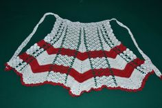 Vintage crocheted White and Red apron by RoxanasTreasures on Etsy
