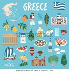 Vector icon set of Greece's symbols. Travel illustration with greek landmarks, people,traditional food, building. Icons Web, Vector Icons, Ge Image, Greek Crafts, Montessori Art, Food Poster Design, Felt Books, Travel Party, Travel Illustration