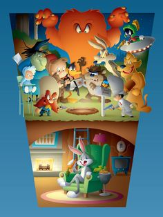 Jerrod Maruyama Bugs And Friends Print Release From Dark Hall Mansion Hanna Barbera, New Looney Tunes, Print Release, Disney And More, Cute Illustration, Character Art, Fine Art Prints, Fan Art, Crafty