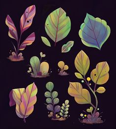 Storybots plant designs on behance game art, art, prop design, game d Art And Illustration, Illustrations, 2d Game Art, Posca Art, Prop Design, Game Design, Design Design, Plant Drawing, Wow Art