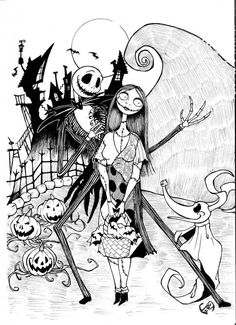 Free Halloween Printable coloring page for kids: Nightmare Before Christmas