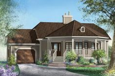 Balancing your decorating ideas Garage House Plans, House Plans One Story, One Story Homes, Best House Plans, Small House Plans, Classic Architecture, Concept Architecture, Architectural Design House Plans, Modern House Design