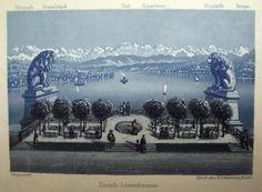 1840 c Scarce Panorama of Zürich Zurich in blue/grey aquatint Dickenmann