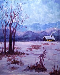 Cabin in Winter by Master Artist Kristina Elizabeth  #paintnite #art #cabin #painting #winter