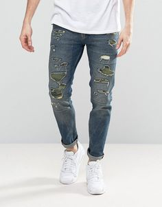 ASOS Skinny Jeans In Mid Blue With Camo Rip & Repair