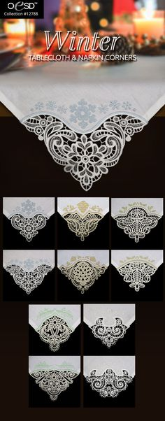 Embrace the cold with these 5 matching pairs of freestanding lace tablecloth and napkin corners. perfect for seasonal decorations. Embroidery Online, Corner Designs, Seasonal Decor, Swirls, Machine Embroidery Designs, Tea Time, Cold, Winter, Ornament