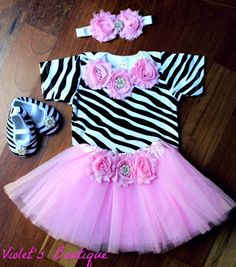 Baby girl tutu outfit....girl outfit...boutique girl outfit...baby tutu...1st birthday outfit. on Etsy, $39.99
