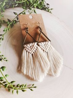 This item is unavailable Diy Crafts Jewelry, Diy Arts And Crafts, Yarn Crafts, Macrame Wall Hanging Patterns, Macrame Patterns, Fringe Earrings, Statement Earrings, Macrame Earrings Tutorial, Macrame Design