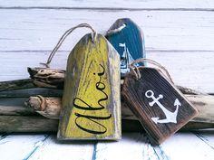Bad-Accessoires - Maritime Deko Badezimmer Kinderzimmer Ahoi Holz - ein Designerstück von melkey bei DaWanda