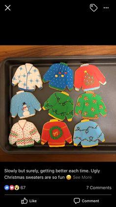 Iced Sugar Cookies, Christmas Sugar Cookies, Royal Icing Cookies, Holiday Cookies, Easy Christmas Treats, Christmas Party Food, Christmas Baking, Cupcakes, Cupcake Cookies