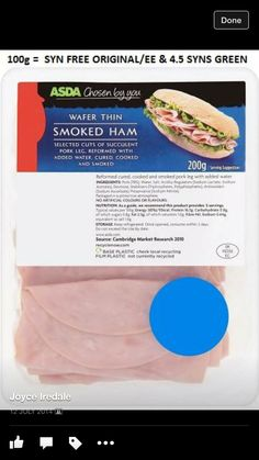 Slimming world Syns Slimming World Free Foods, Slimming World Syn Values, Slimmers World Recipes, Wafer Thin, Smoked Ham, Syn Free, The Cure, Cooking, Healthy