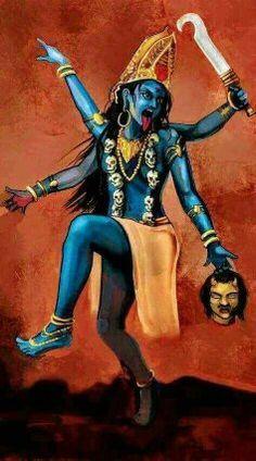 What are the weapons of the Goddess Kali and their meaning? Kali Hindu, Krishna Hindu, Hindu Art, Mother Kali, Mother Goddess, Divine Mother, Saraswati Goddess, Shiva Shakti, Indian Goddess Kali