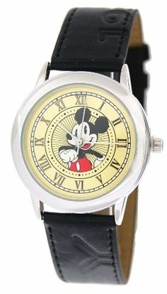 Disney #41642 Unisex Mickey Mouse Black Leather Strap Watch by Disney. Save 27 Off!. $18.99. Stainless Steel Back Cover. Precise Quartz Movment. Leather Like Band. Mineral Crystal. Mickey Mouse is a comic animal cartoon character who has become an icon for The Walt Disney Company. Mickey Mouse was created in 1928 by Walt Disney and Ub Iwerks and voiced by Walt Disney. The Walt Disney Company celebrates his birth as November 18, 1928 upon the release of Steamboat Willie. The anthr...