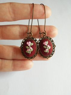 Floral Hand Embroidered Dangle Earrings, Pink Flower Vintage Style Drop Earrings by RedWorkStitches on Etsy