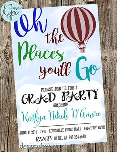 Oh The Places Youll Go graduation invitation by Meghilys on Etsy