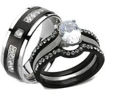 His Hers 4 Piece Black Stainless Steel & Titanium Matching Wedding Band Ring Set