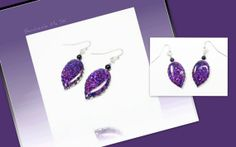 polymer clay Royal Purple Leaf  Dangle Earrings by BeadazzleMe, $14.00