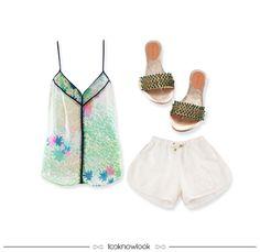 Regata Estampada + Short Off + Rasteira com Pedrarias #moda #look #outfit #looknowlook