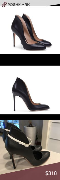 Gianvito Rossi black pumps Gianvito Rossi black leather high back round-toe pumps with removable white ankle strap. These impeccably crafted shoes are feminine, modern and perfect for everyday or evening wear alike. gianvito Rossi Shoes Heels