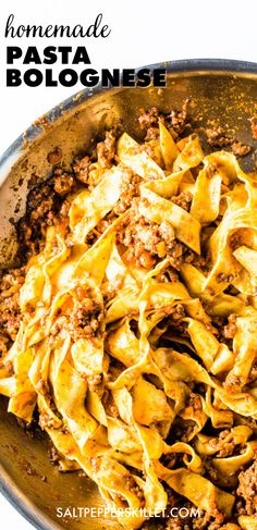 If you want to impress your special someone with Italian food, you have to make this spaghetti bolognese recipe. It's the best bolognese recipe you'll ever make! This is one of those homemade pasta dishes recipes you can make as pasta lunch or pasta dinner. It takes some time to cook the bolognese sauce, but once you're done you'll have the best pasta bolognese, a yummy pasta at the comfort of your own home. Click for the recipe or save this for later! Seafood Pasta Recipes, Yummy Pasta Recipes, Chicken Pasta Recipes, Dishes Recipes, Food Dishes, Best Bolognese Recipe, Bolognese Sauce, Spaghetti Bolognese, Healthy Pasta Dishes