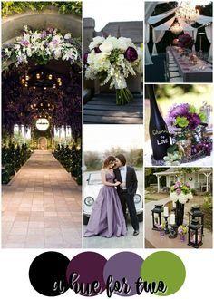 Black, Purple and Green Wedding Colour Scheme - Dark Weddings - Wedding Colors - A Hue For Two | www.ahuefortwo.com