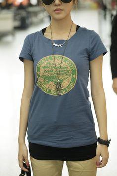 Blue Print Cotton Short T-shirt