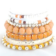 Alloy and Yellow Cloth Multilayer Bracelets for Women