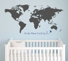 World Map with Dr Seuss Quote Oh the places you'll go Wall Decal Nursery Wall Decal Kids Room Decor Art Baby Stickers