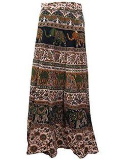 Indie Wrap Skirt Elephants Print Green Cotton Wrap Around Skirts Beach Dress