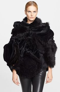 Junya Watanabe Faux Fur Cape at Nordstrom.com. Faux shearling and faux fur add lavish textural dimension to this artfully draped and gathered Junya Watanabe cape jacket.