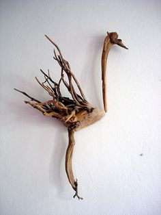 Littlefoot bird driftwood sculpture so well fitted... by Dr Driftwood Yalos