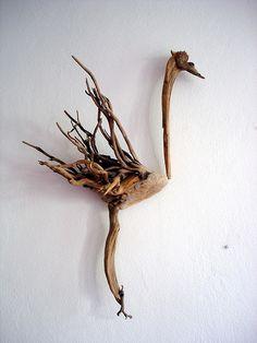 Littlefoot bird driftwood sculpture so well fitted... by Dr Driftwood Yalos