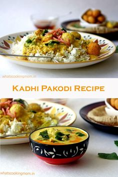 Kadhi is an Indian Gravy dish made of Gram Flour and curd and contains gram flour Pakodi/ fritters served with Rice or Roti. Indian Food Recipes, Asian Recipes, Ethnic Recipes, Curry Stew, Best Curry, Recipe Maker, Vegetarian Side Dishes, Gram Flour, Indian Kitchen