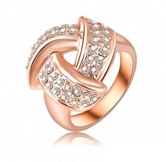 Triangle Shaped Rose Gold Plated #Ring With Austrian Zircons