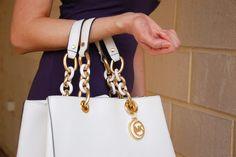 My Sister's Wardrobe part one - navy dress and white Michael Kors handbag  Extraordinary Days