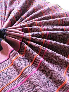 Red Purple Hmong Karen Cotton Fabric, Hill Tribe Handmade indigo, Hand Woven Vintage Ethnic Tribal Style