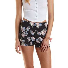 High-Waisted Floral Print Cuffed Shorts: Charlotte Russe
