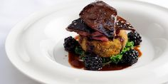 William Drabble's grouse recipe is delicious combined with tangy blackberries and port wine jus. Grouse is a phenomenal game bird, and this recipe shows it off Wild Game Recipes, Fall Recipes, Chef Recipes, Dinner Recipes, Grouse Recipes, Potato Galette, Great British Chefs, Port Wine, Venison