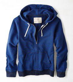Shipmate Blue AEO Vintage Striped Full-Zip Hoodie