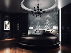 Contemporary 3d Wallpaper In Circular Bed Shape In Master Bedroom With Black Wallpaper Floral Patterns Cool 3d wallpaper for home interior wall Interior Design
