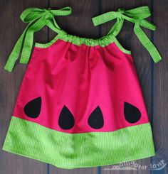 o... m... g... WANT!     Watermelon Dress with Bloomers Adorable Pillow Case Dress Hot Pink and Green Summer Photoshoot dresses Watermelon Birthday Party. $25.00, via Etsy.