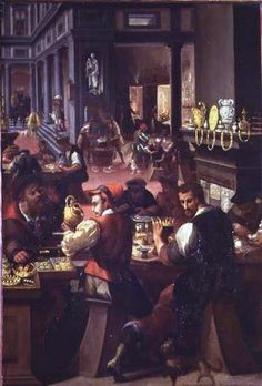 by Allesandro Fei, oil painting of a Goldsmith's Workshop, 1571