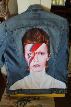 David Bowie Hand Painted Vintage Levi's Trucker Jacket - Denim #Levis #JeanJacket