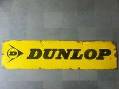 Rare Vintage Huge 'Dunlop Tyre,Tubes' Ad Porcelain Enamel Sign Board ADV EHS