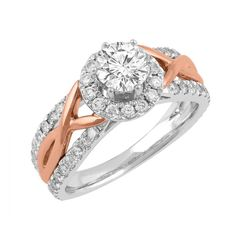 Love by Michelle Beville 18ct White & Rose Gold 1.26ct of Diamond Solitaire Ring. Available in stores or online - 9B53001