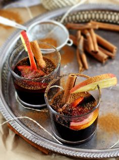 Hot Glühwein / Mulled wine with Cinnamon and christmas spices