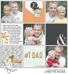 digital scrapbook layout created with A Father's Love mini kit and journal cards by Amber LaBau Designs