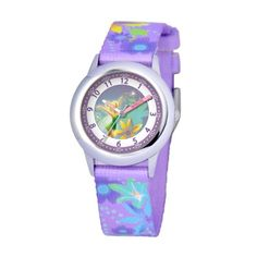 Disney Kids' W000274 Tinker Bell Stainless Steel Time Teacher Printed Strap Watch - http://www.watchesandstuff.com/disney-kids-w000274-tinker-bell-stainless-steel-time-teacher-printed-strap-watch/